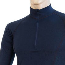 Sensor - Koszulka męska Merino Double Face Tee LS zip deep blue